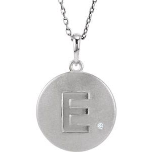 "Sterling Silver .005 CTW Diamond Initial E 18"" Necklace"