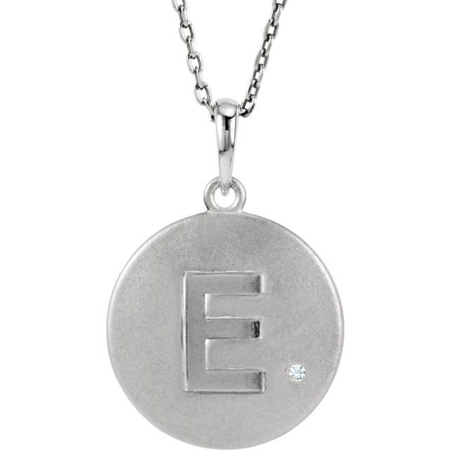 Sterling Silver .005 CT Diamond Initial E 18