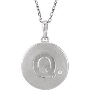 "Sterling Silver .005 CTW Diamond Initial Q 18"" Necklace"