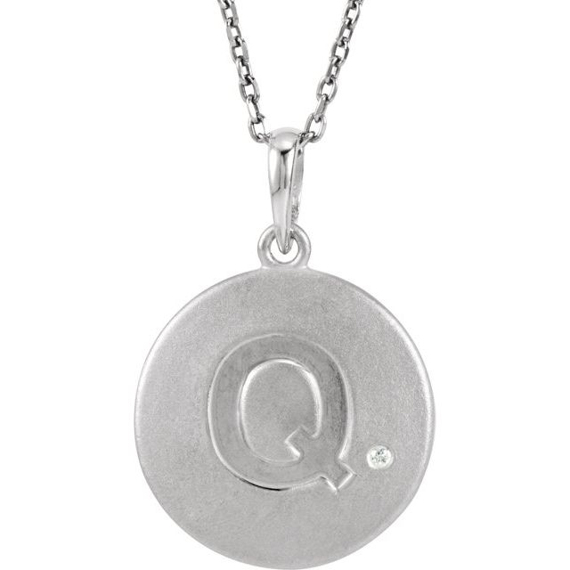Sterling Silver .005 CTW Diamond Initial Q 18