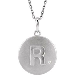"Sterling Silver .005 CTW Diamond Initial R 18"" Necklace"