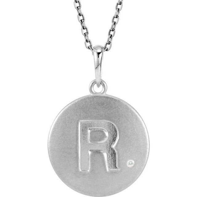 Sterling Silver .005 CTW Diamond Initial R 18