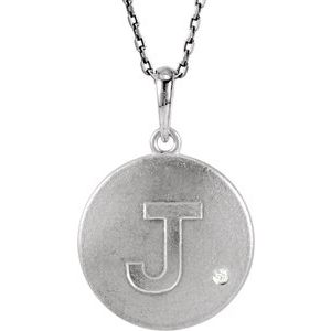 "Sterling Silver .005 CTW Diamond Initial J 18"" Necklace"