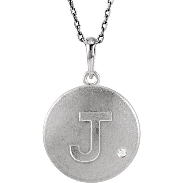 Sterling Silver .005 CTW Diamond Initial J 18
