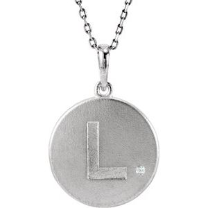 "Sterling Silver .005 CTW Diamond Initial L 18"" Necklace"