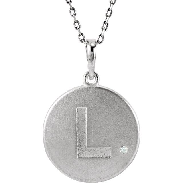 Sterling Silver .005 CTW Diamond Initial L 18