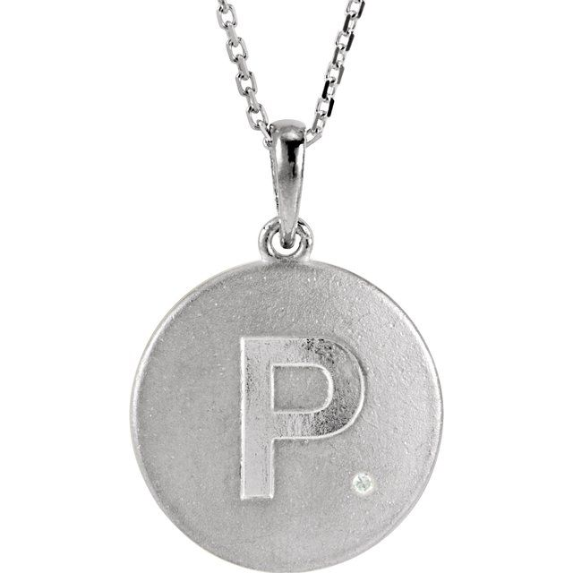 Sterling Silver .005 CTW Diamond Initial P 18