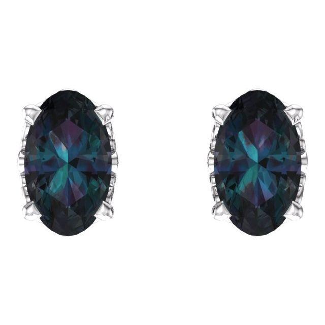 14K White Lab-Grown Alexandrite Earrings