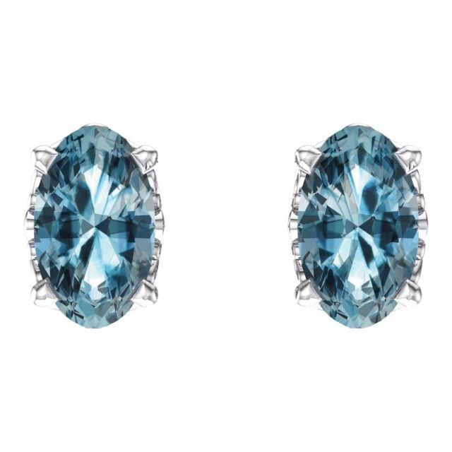 14K White Sky Blue Topaz Earrings