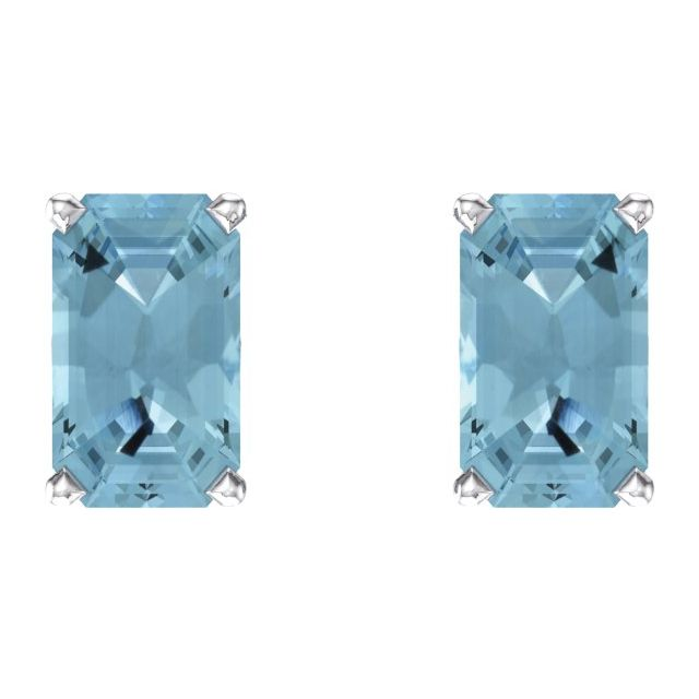 14K White Aquamarine Earrings
