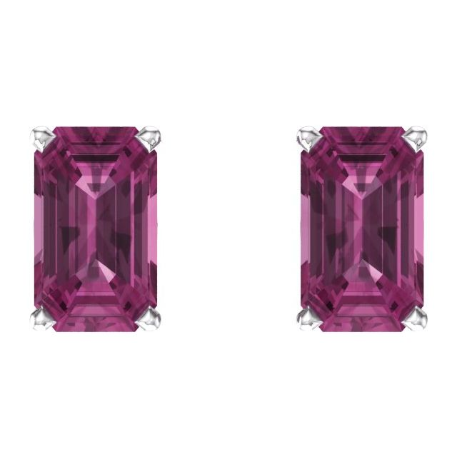 14K White Pink Tourmaline Earrings