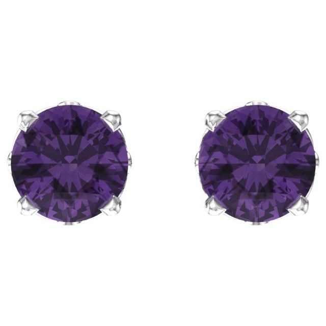 14K White Amethyst 4-Prong Scroll Setting® Stud Earrings