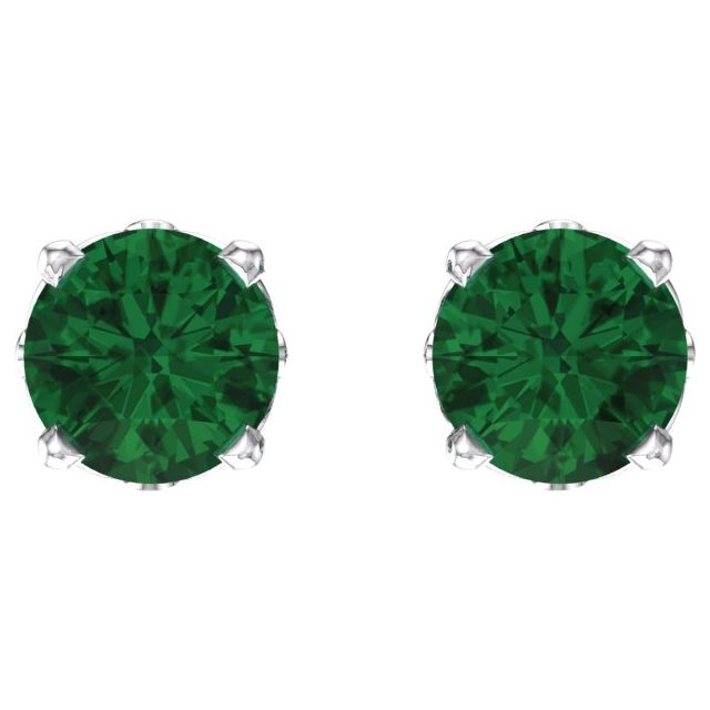 14K White Emerald 4-Prong Scroll Setting® Stud Earrings