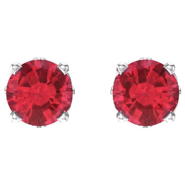 14K White Ruby 4-Prong Scroll Setting® Stud Earrings