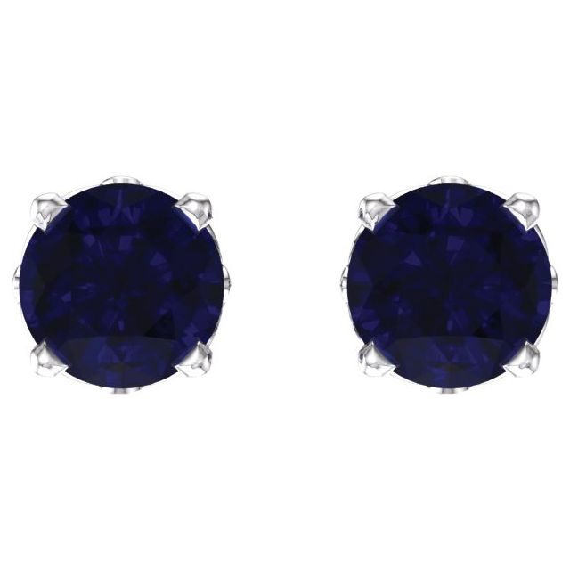14K White Sapphire 4-Prong Scroll Setting® Stud Earrings