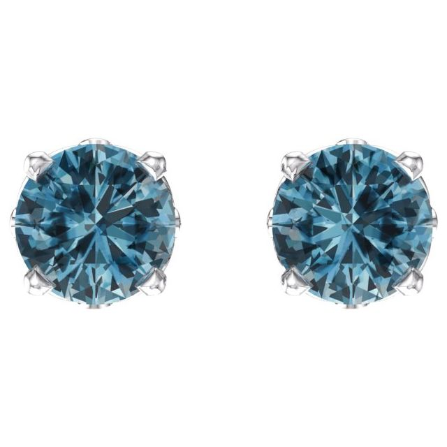 14K White Swiss Blue Topaz 4-Prong Scroll Setting® Stud Earrings