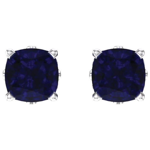 14K White 6x6 mm Cushion Lab-Grown Blue Sapphire Earrings