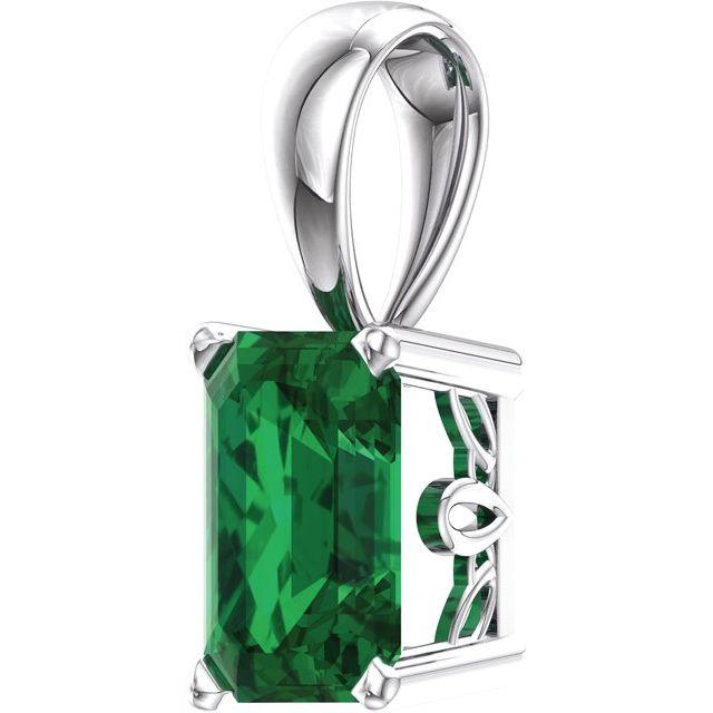 14K White Lab-Grown Emerald Pendant
