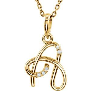 """14K Yellow .02 CTW Diamond Initial A 18"""" Necklace"""