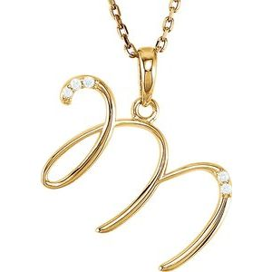 "14K Yellow .025 CTW Diamond Initial M 18"" Necklace"