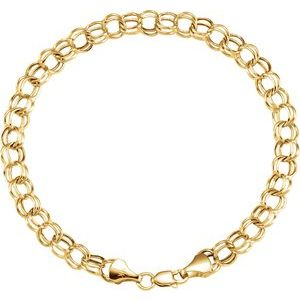 "14K Yellow 7.9 mm Double Link Charm 8"" Bracelet"
