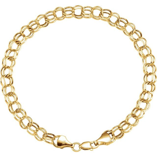 14K Yellow 7.9 mm Double Link Charm 7.25