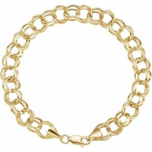 "14K Yellow 5.7 mm Double Link Charm 8"" Bracelet"