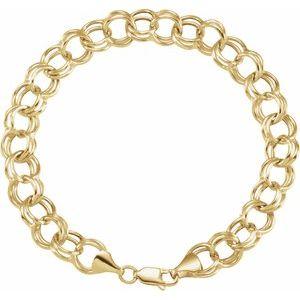 "14K Yellow 5.7 mm Double Link Charm 7.25"" Bracelet"