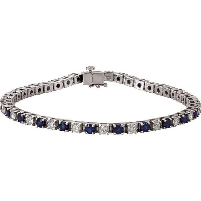 "14K White Blue Sapphire & 2 3/8 CTW Diamond Line 7"" Bracelet"