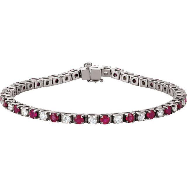 "14K White Ruby & 2 1/3 CTW Diamond 7"" Bracelet"