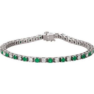 "Platinum Emerald & 2 1/3 CTW Diamond Line 7""  Bracelet"
