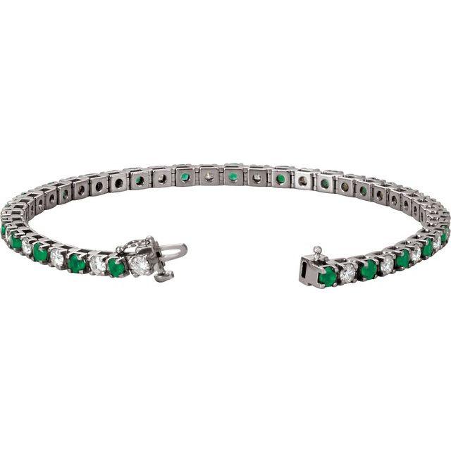 Platinum Emerald & 2 1/3 CTW Diamond Line 7