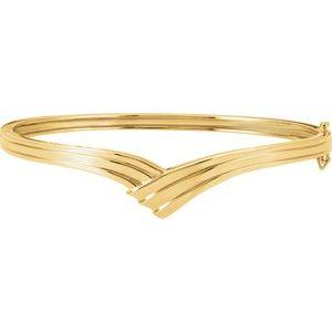 """14K Yellow Hinged Bangle 6 1/2"""" Bracelet"""