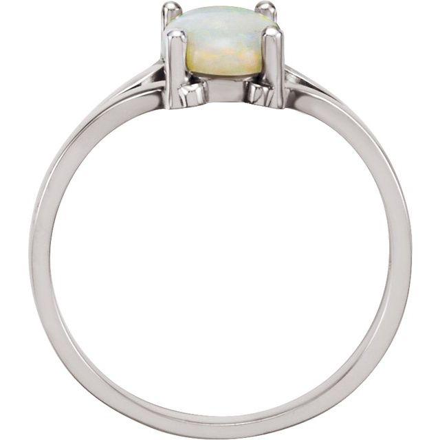14K White Opal Ring