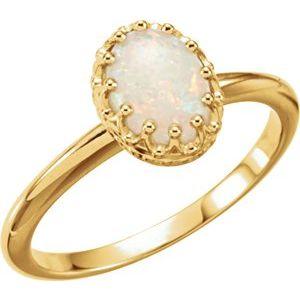 14K Rose Opal Crown Ring