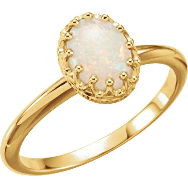 Sterling Silver Opal Crown Ring