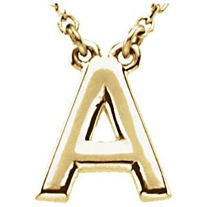 "14K Yellow Block Initial A 16"" Necklace"