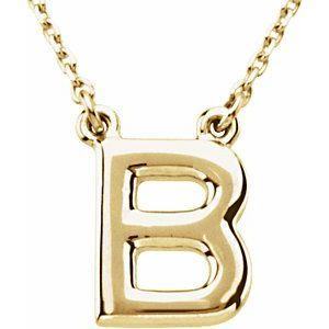 "14K Yellow Block Initial B 16"" Necklace"