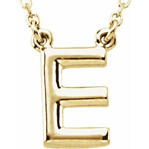 """14K Yellow Block Initial E 16"""" Necklace"""