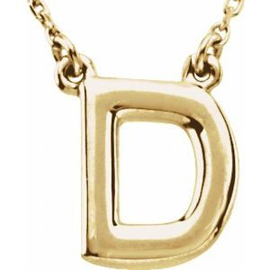 """14K Yellow Block Initial D 16"""" Necklace"""
