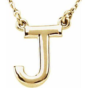 "14K Yellow Block Initial J 16"" Necklace"