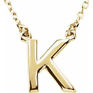 "14K Yellow Block Initial K 16"" Necklace"