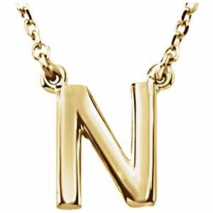 """14K Yellow Block Initial N 16"""" Necklace"""