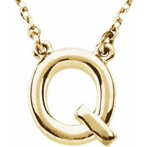 """14K Yellow Block Initial Q 16"""" Necklace"""