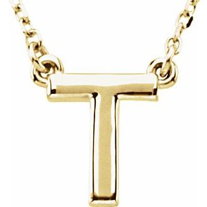 """14K Yellow Block Initial T 16"""" Necklace"""