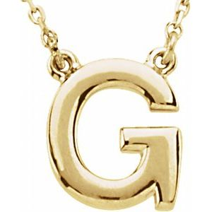 """14K Yellow Block Initial G 16"""" Necklace"""