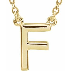 """14K Yellow Block Initial F 16"""" Necklace"""