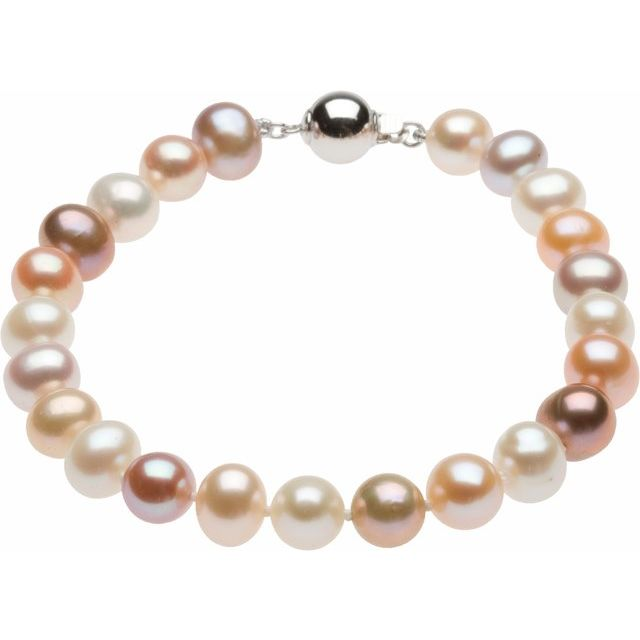 Sterling Silver Freshwater Cultured Pearl 7.75