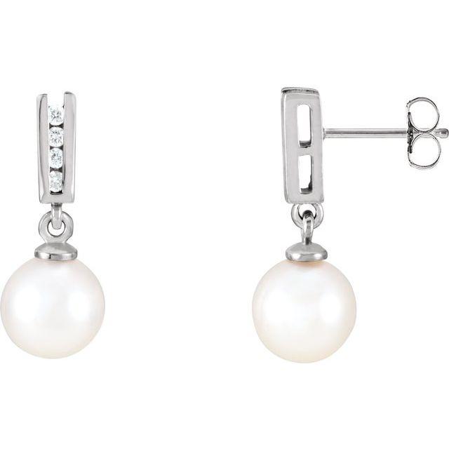 14K White Akoya Cultured Pearl & 1/8 CTW Diamond Earrings