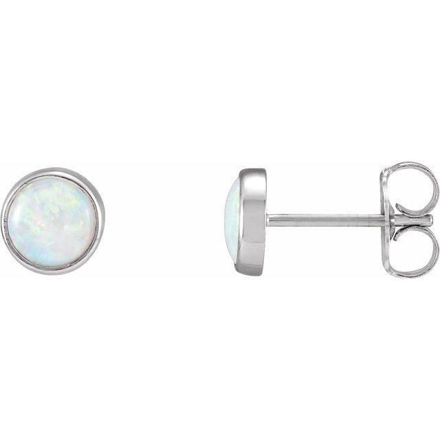 14K White Bezel-Set Opal Earrings